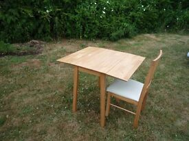 Drop Leaf Desk / Table / Kitchen / Dining Room Table with Matching Chair