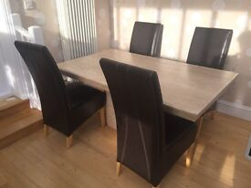 Travertine Dining Table - 4 High Back Brown Leather Chairs