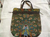 PEACOCK BEADED BAG,NEVER BEEN USED.