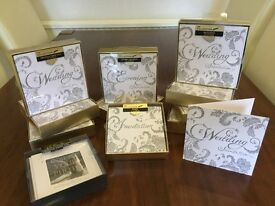 CAN POST Clintons luxury silver glitter wedding invites, day & evening, thank you cards & envelopes.