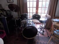 5 Piece Black Mapex drum kit with Cymbals