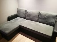L shape corner sofa bed - Storage double sofa bed - 3 seats - Grey and black - Mint conditions