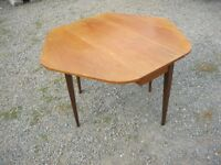 RETRO UNUSUAL SHAPED TEAK DROP LEAF TABLE. GREAT SPACE SAVER. VIEWING / DELIVERY AVAILABLE