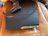 PS3 slim line playstation 250gb with cables Charcoal black console 6 axis controller