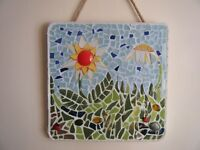Original Mosaic art wall hanging in upcycled ceramics by local mosaic artist