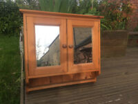 Antique pine mirrored cabinet