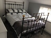 Victorian brass double bed frame with wooden struts for mattress -Black and Gold