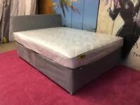 Double 4ft6 Silver grey Divan with Headboard and Mattress