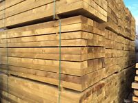 New Eco Softwood Garden Sleepers | Tanalised | Pine | 2400 x 200 x 100