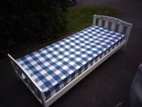 Children's / Kids White Bed inc Mattress - 190cm x 80cm