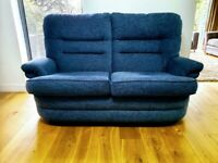 2 seater blue chenille fabric sofa, immaculate DELIVERY INCLUDED