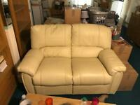 Cream Leather 2 Seater Sofa and 2 Armchairs For Sale