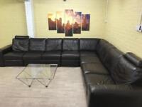 Bespoke Natuzzi Brown Leather Corner Sofa