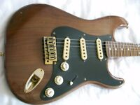 Unbranded Walnut electric guitar - Fender Stratocaster homage - Japanese? Circa 80's ?