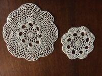 Handwoven cream cotton table mat (21cm) and coaster (14cm)