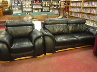 Luxury Black leather, 3 seater sofa & chair suite
