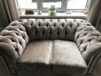 CRUSHED VELVET 2&3 seater sofas Immaculate condition ,smoke free Home,hardly used