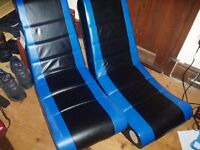 Gaming chairs x 2 - Blue and black.
