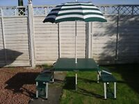 Camping Table & Chairs + Parasol .