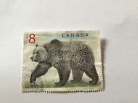 Canada Stamp $8 Grizzly Bear previously mounted