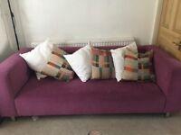 Large purple three seat sofa, from Habitat