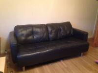 Free - Dark blue leather 3 seater sofa