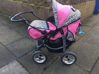 URGENT : brand new pink and leopard print pram / buggy