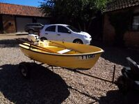 Fibre glass dinghy with trailer & outboard motor.