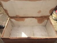 Pine wooden box , original material in side the box , needs some tlc