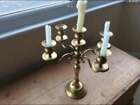 5-Arm Vintage Brass Candlestick Table Centrepiece
