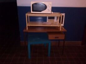 2 side tables and a desk going free (microwave is gone already)