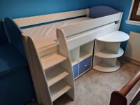 Childs Bed - Stompa Uno S Plus Mid-Sleeper with Pull-Out Desk and 4 Door Cube Unit, Blue/Grey