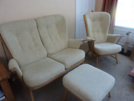 ERCOL SOFA CHAIRS AND FOOTSTOOL EXCELLENT CONDITION HALF PRICE