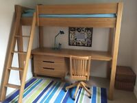 BRAND NEW ! HIGH SLEEPER WITH BED MATTRESS + CHEST OF DRAWERS + DESK + SWIVEL CHAIR IN MASSIVE OAK