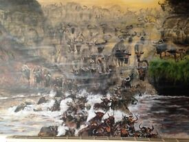 "Wildebeest original painting in acrylics on a 30"" x 20"" boxed canvas"