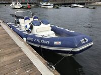 Avon 6.2m rib with 150 Mercury outboard and twin axle trailer