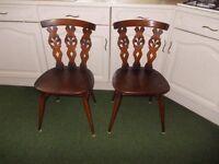 Pair of vintage Ercol Fleur De Lys dining chairs