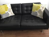 2 seater Ikea LANDSKRONA Black leather sofa