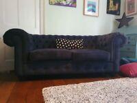 2 Seater Sofa: Blue Velvet Chesterfield