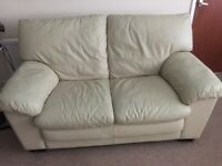 FREE Leather 2 Seater cream Sofa & Armchair