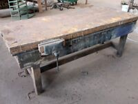 Wooden joiner's bench with vice