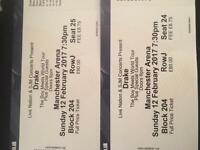 X2 Drake tickets Sunday 12th February 2017