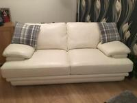Ivory Leather Sofa.