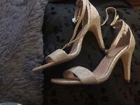 Gold glittery heels