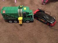 Remote control car and bin truck