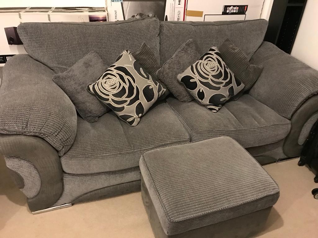 SOLD - Grey mix 3 seater sofa with storage footrest and cushion selection