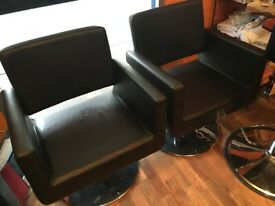 3 black Hydrolic Hairdressing chairs