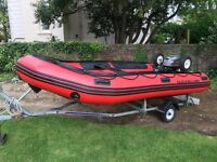 Quicksilver 430 HD XS Inflatable with 25HP Outboard Engine & Trailer