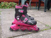 Raptor Girls Inline Skates In Pink (UK Sizes 13 to 3) plus knee, elbow, wrist pads