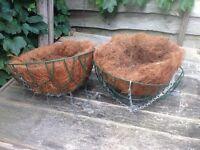 Hanging baskets, trellis, chicken wire, seed trays